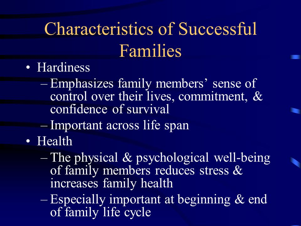 Characteristics of Successful Families Communication –Exchange information, share beliefs & feelings, demonstrate love & affections to create and maintain intimate relationships –Always important Financial Management –Develop decision-making skills in use of money –Most important through children's teen years