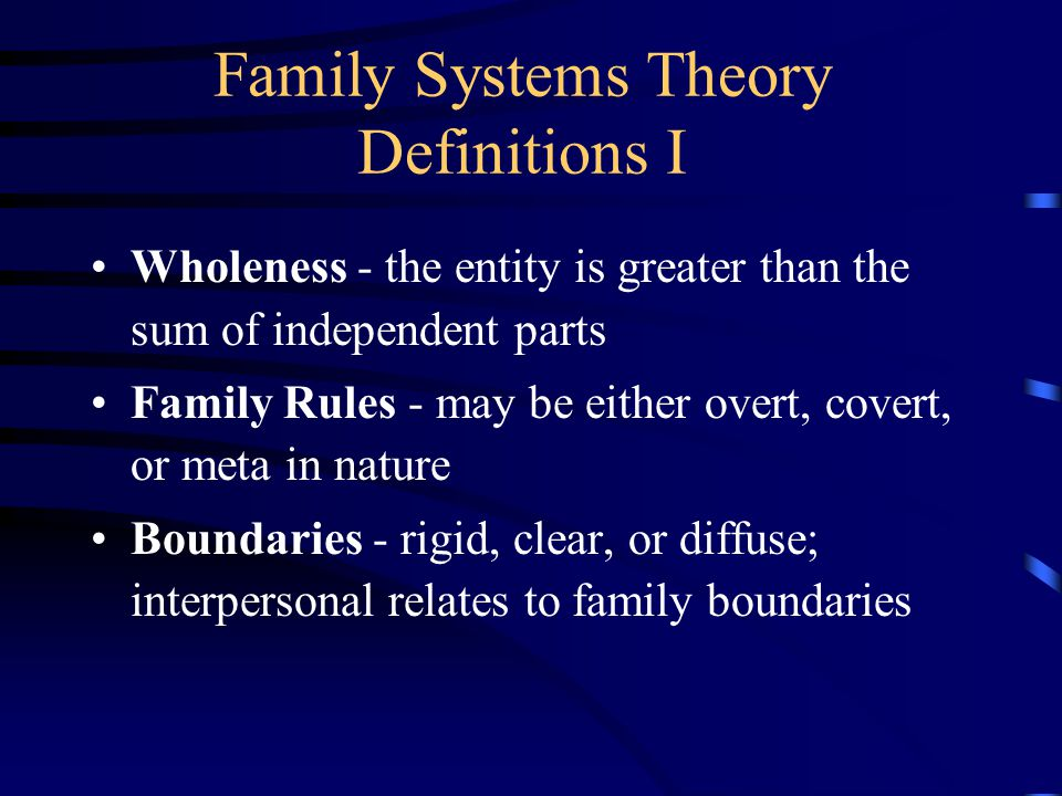 Family Systems Theory Wholeness Family Rules Boundaries Hierarchy Homeostasis Feedback Loops Circular Causality Equifinality Triangles Individuality