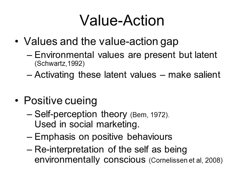 Hypotheses 1.Community intervention + positive cueing will make salient environmental values 2.