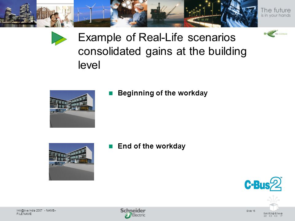 Slide 15 Initi@tive India 2007 - NAME– FILE NAME Beginning of the workday End of the workday Example of Real-Life scenarios consolidated gains at the building level