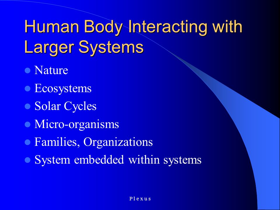 P l e x u s Human Body Interacting with Larger Systems Nature Ecosystems Solar Cycles Micro-organisms Families, Organizations System embedded within systems