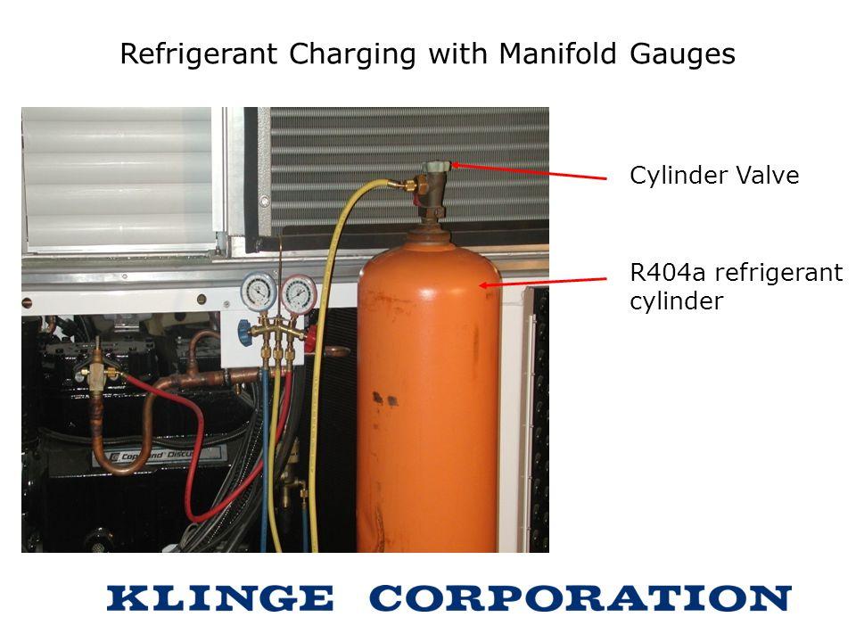 Refrigerant Charging with Manifold Gauges Cylinder Valve R404a refrigerant cylinder