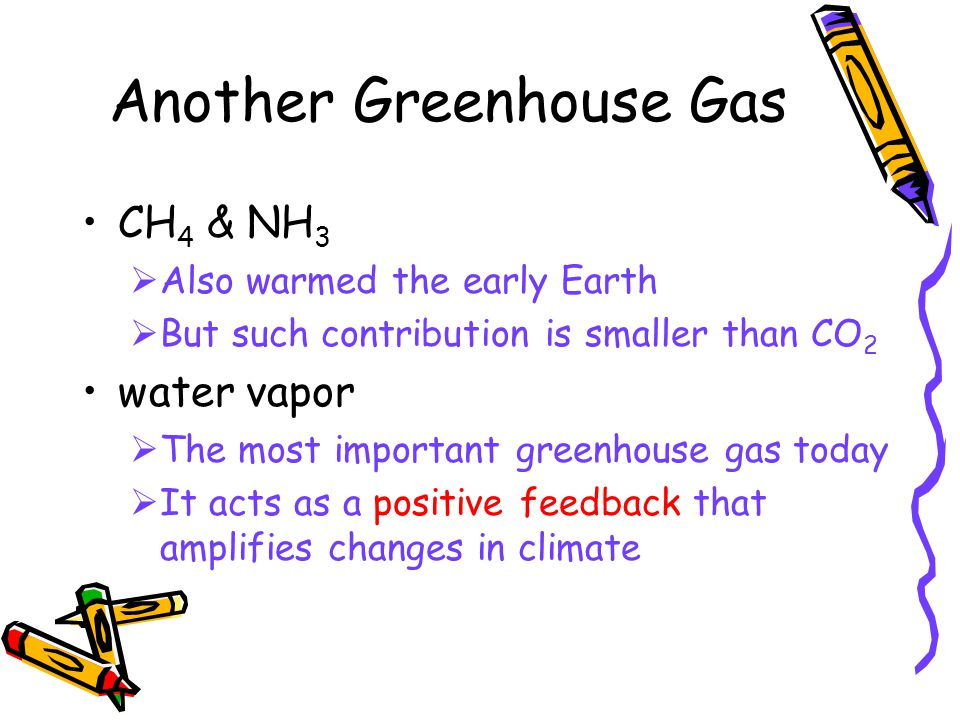 Another Greenhouse Gas CH 4 & NH 3  Also warmed the early Earth  But such contribution is smaller than CO 2 water vapor  The most important greenhouse gas today  It acts as a positive feedback that amplifies changes in climate