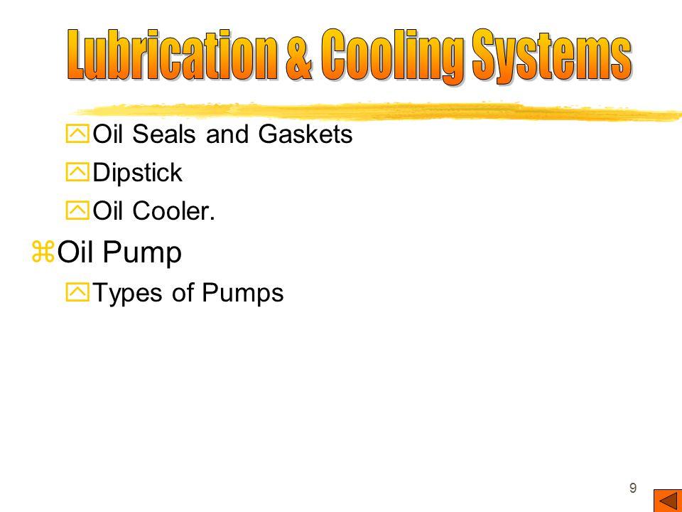 8 zLubricating Systems yOil Pumps yOil Pump Pickup yOil Pan or Sump yPressure Relief Valve yOil Filter yEngine Oil Passages or Galleries yEngine Beari