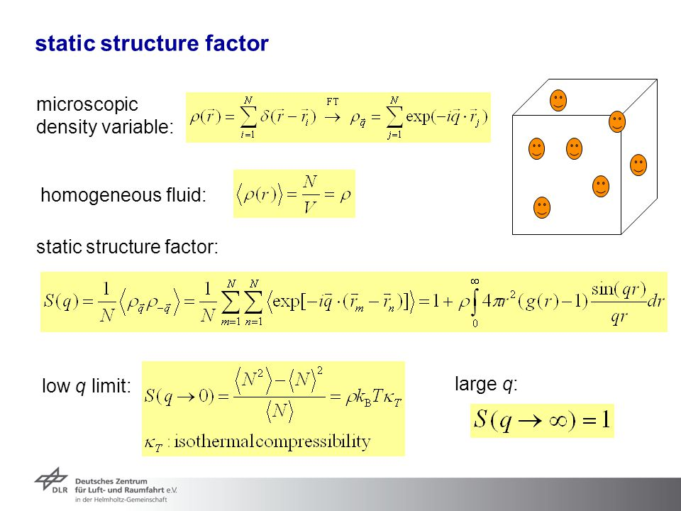 static structure factor microscopic density variable: static structure factor: low q limit: homogeneous fluid: large q: