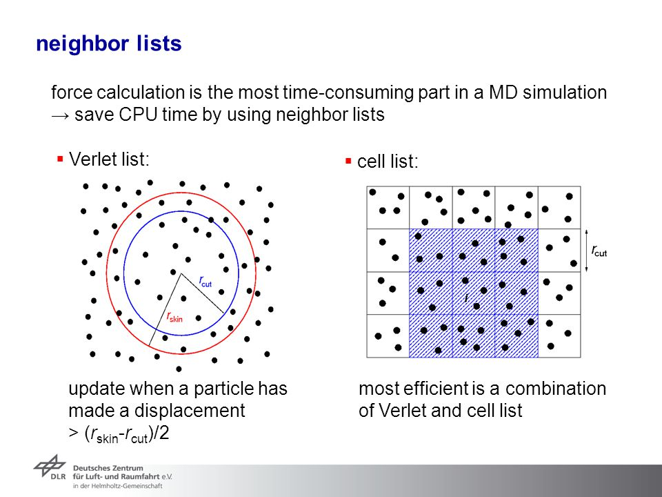 neighbor lists force calculation is the most time-consuming part in a MD simulation → save CPU time by using neighbor lists  Verlet list: update when