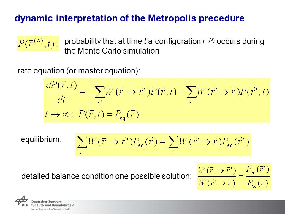 dynamic interpretation of the Metropolis precedure probability that at time t a configuration r (N) occurs during the Monte Carlo simulation rate equa