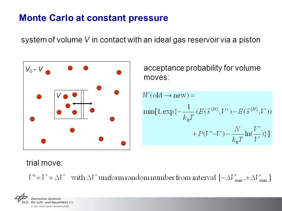 Monte Carlo at constant pressure system of volume V in contact with an ideal gas reservoir via a piston V V 0 - V acceptance probability for volume mo