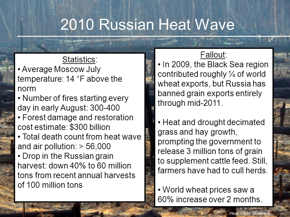 Nightmare Scenario 40% drop in Russian grain harvest reduced world grain stocks from 79 days of consumption to 72 days But what if the heat wave centered on Chicago, and the much larger U.S.