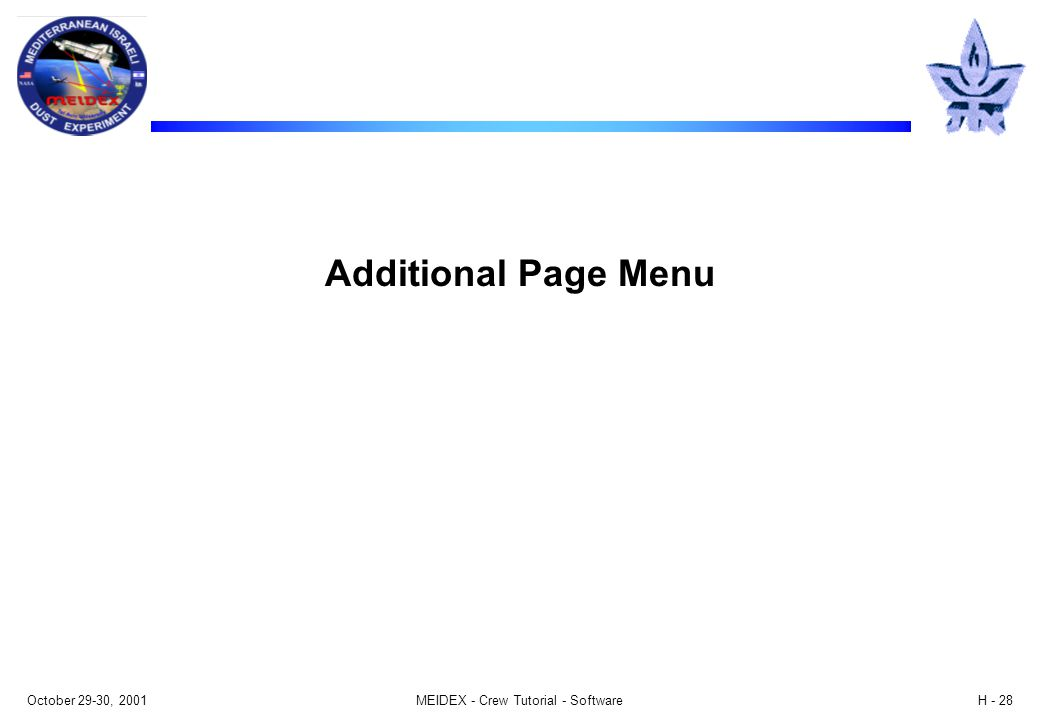 October 29-30, 2001MEIDEX - Crew Tutorial - SoftwareH - 28 Additional Page Menu