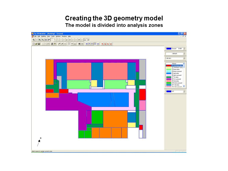 Creating the 3D geometry model The model is divided into analysis zones