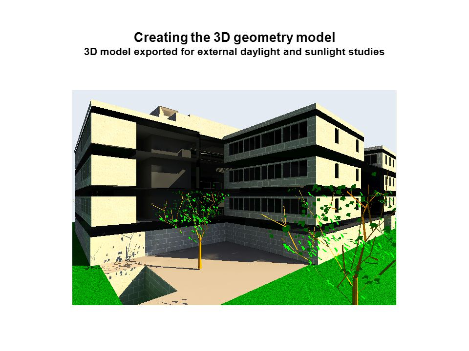 Creating the 3D geometry model 3D model exported for external daylight and sunlight studies