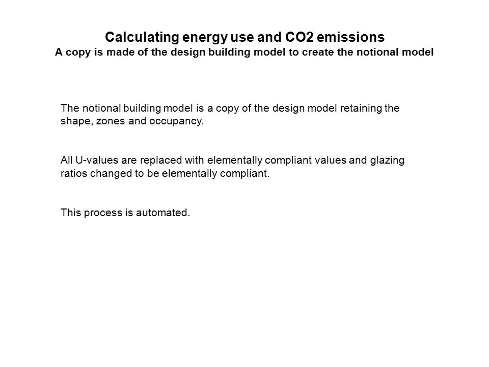 Calculating energy use and CO2 emissions A copy is made of the design building model to create the notional model The notional building model is a copy of the design model retaining the shape, zones and occupancy.