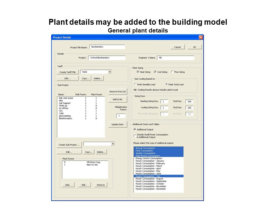 Plant details may be added to the building model General plant details