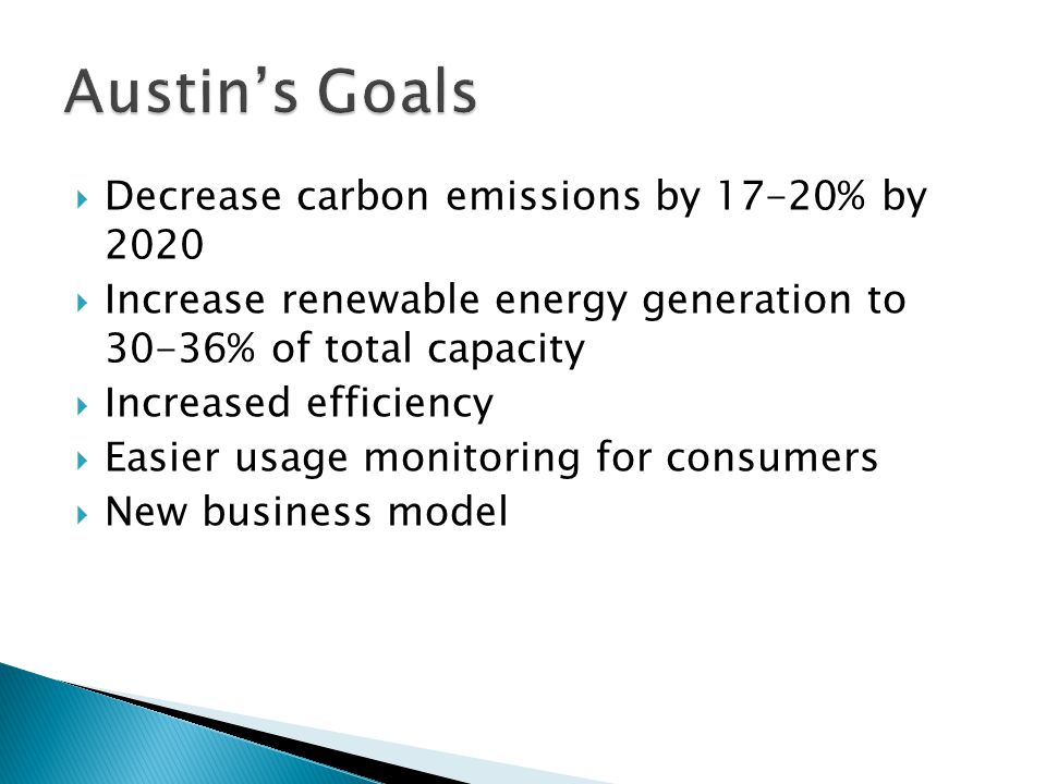  Decrease carbon emissions by 17-20% by 2020  Increase renewable energy generation to 30-36% of total capacity  Increased efficiency  Easier usage monitoring for consumers  New business model