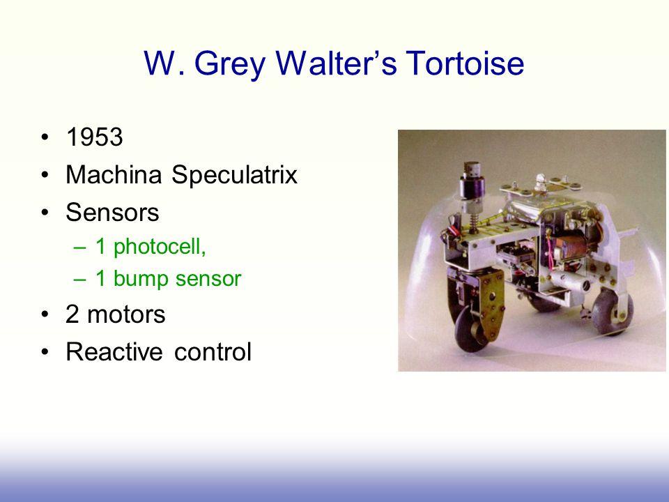 W. Grey Walter's Tortoise 1953 Machina Speculatrix Sensors –1 photocell, –1 bump sensor 2 motors Reactive control