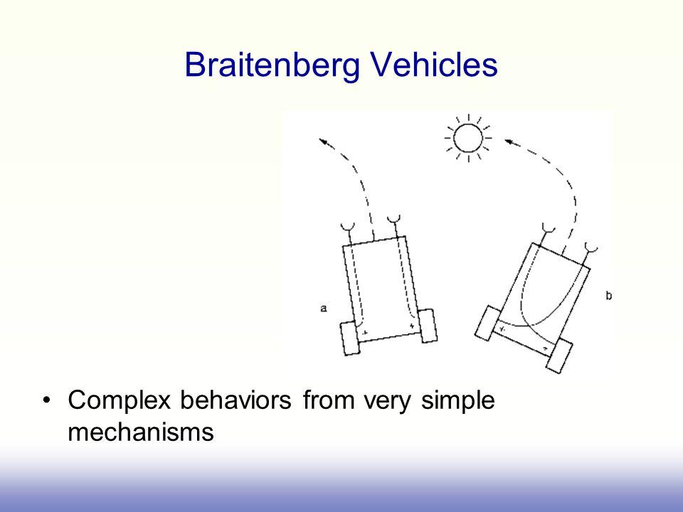 Braitenberg Vehicles Complex behaviors from very simple mechanisms