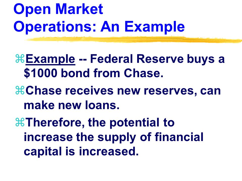 Open Market Operations: An Example zExample -- Federal Reserve buys a $1000 bond from Chase.