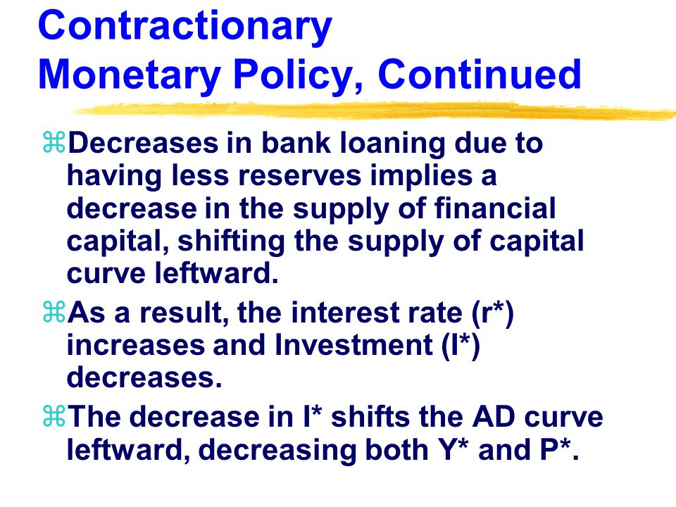 Contractionary Monetary Policy, Continued zDecreases in bank loaning due to having less reserves implies a decrease in the supply of financial capital, shifting the supply of capital curve leftward.