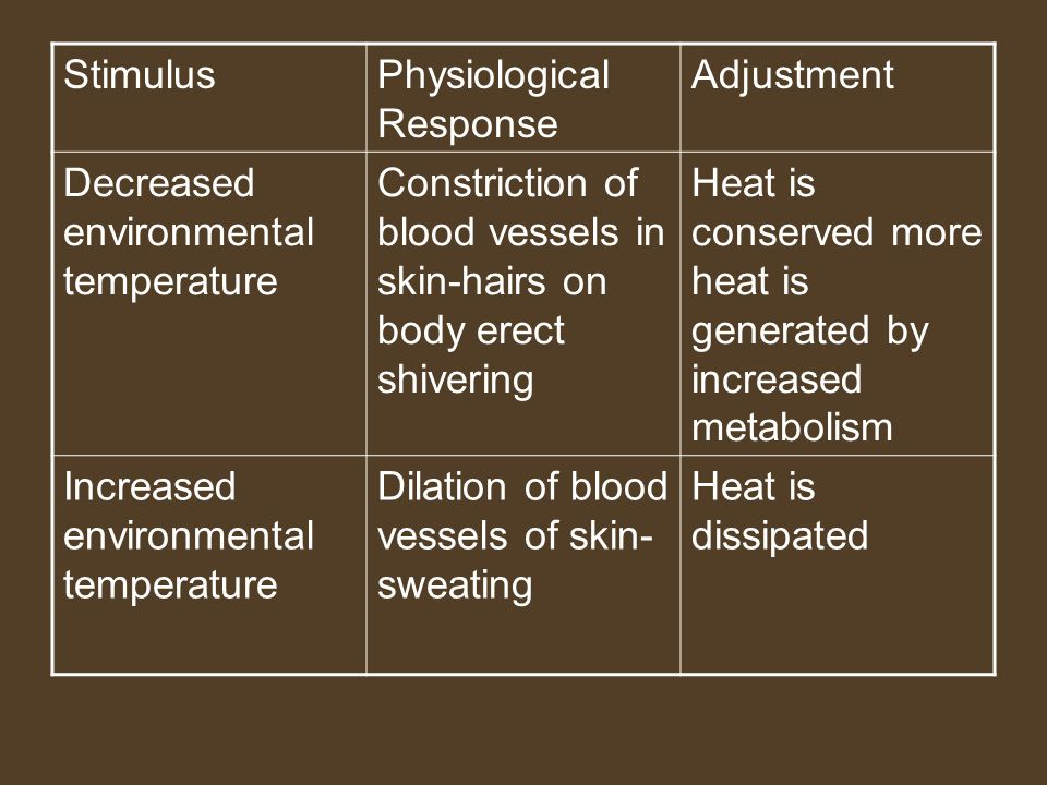 StimulusPhysiological Response Adjustment Decreased environmental temperature Constriction of blood vessels in skin-hairs on body erect shivering Heat