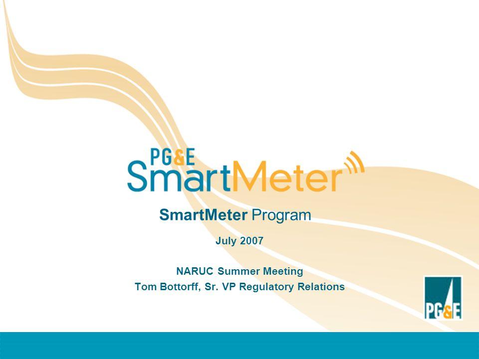 SmartMeter Program July 2007 NARUC Summer Meeting Tom Bottorff, Sr. VP Regulatory Relations