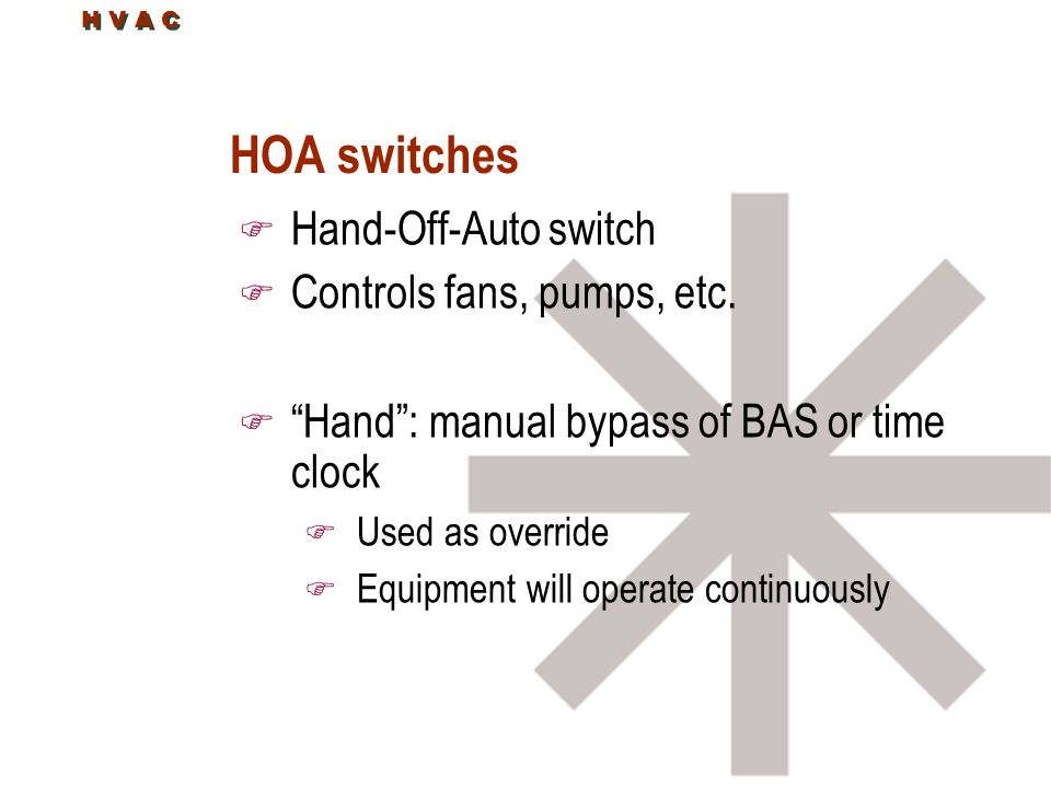 """H V A C HOA switches F Hand-Off-Auto switch F Controls fans, pumps, etc. F """"Hand"""": manual bypass of BAS or time clock F Used as override F Equipment w"""