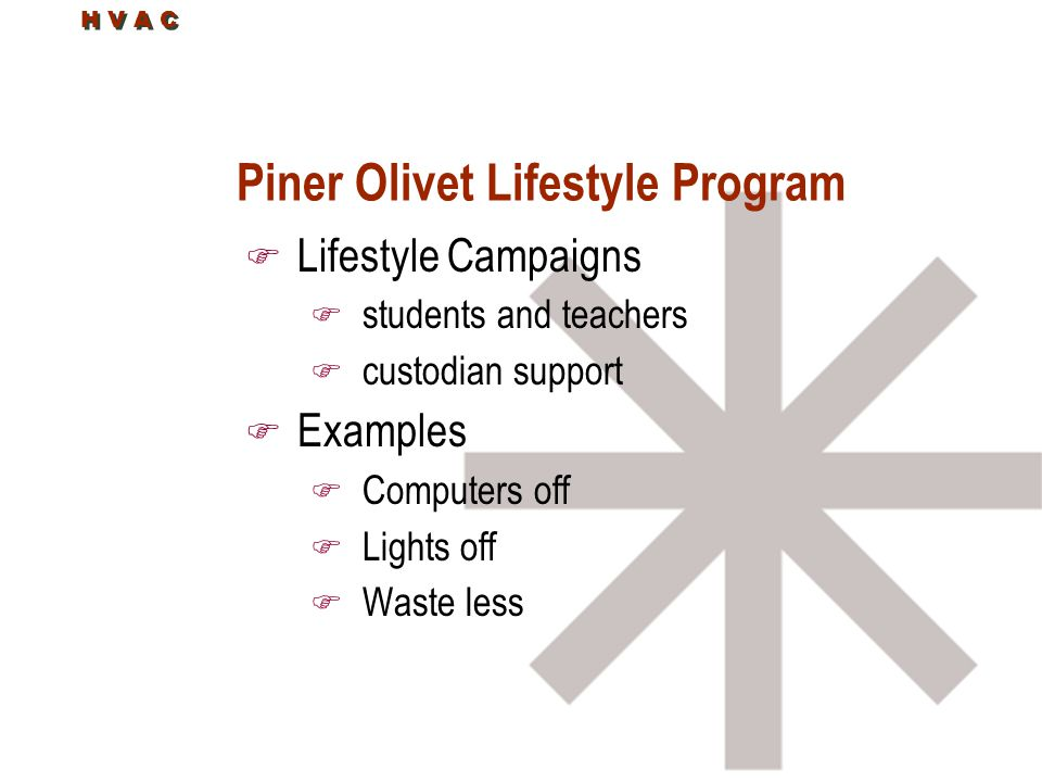 H V A C Piner Olivet Lifestyle Program F Lifestyle Campaigns F students and teachers F custodian support F Examples F Computers off F Lights off F Waste less