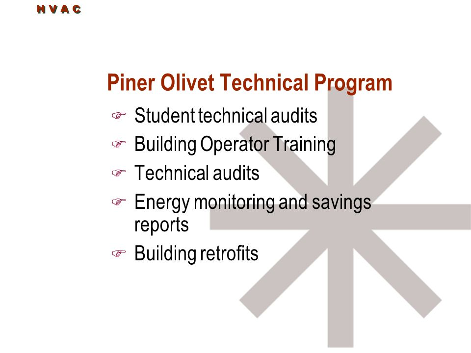 H V A C Piner Olivet Technical Program F Student technical audits F Building Operator Training F Technical audits F Energy monitoring and savings repo