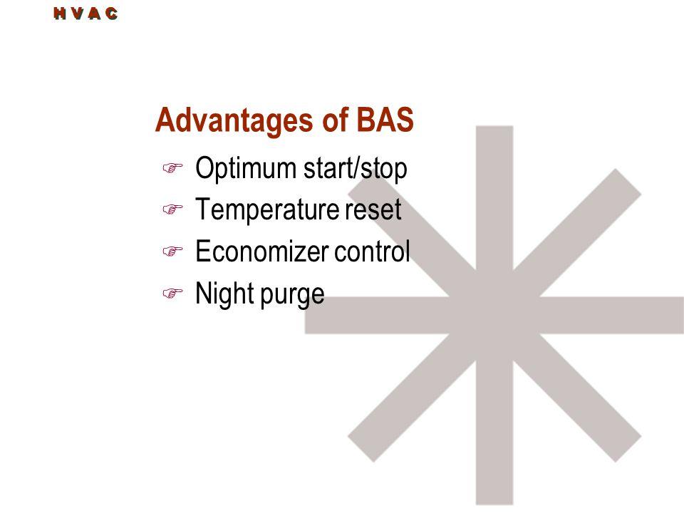 Advantages of BAS F Optimum start/stop F Temperature reset F Economizer control F Night purge