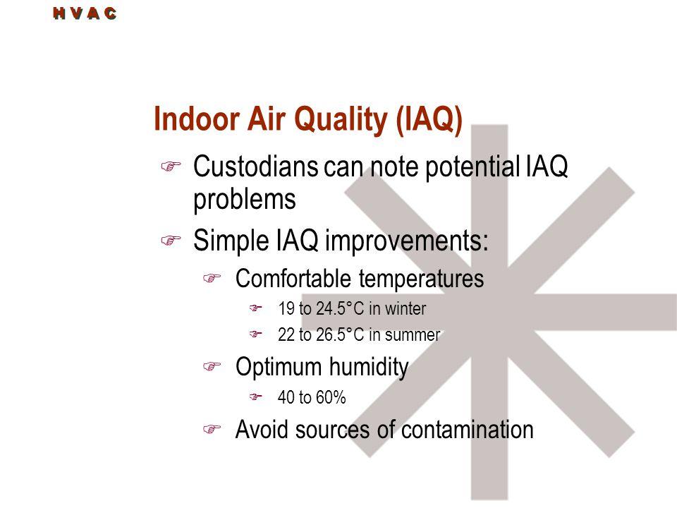H V A C Indoor Air Quality (IAQ) F Custodians can note potential IAQ problems F Simple IAQ improvements: F Comfortable temperatures F 19 to 24.5°C in