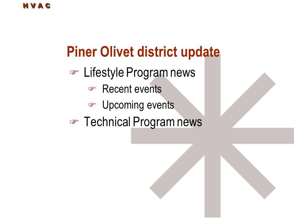 H V A C Piner Olivet district update F Lifestyle Program news F Recent events F Upcoming events F Technical Program news