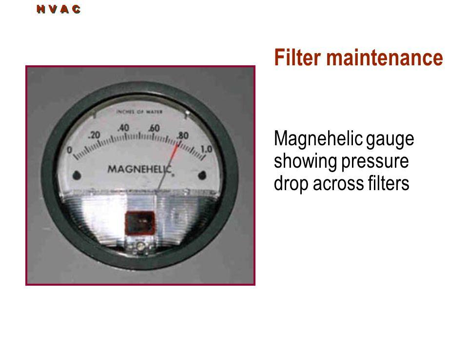 Filter maintenance Magnehelic gauge showing pressure drop across filters H V A C