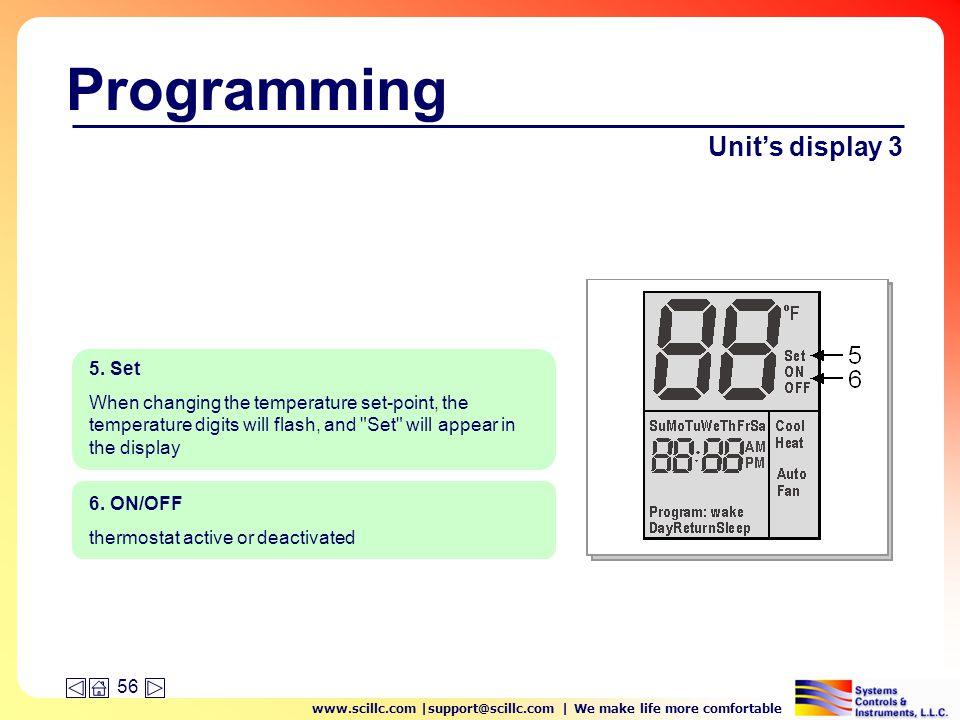 www.scillc.com |support@scillc.com | We make life more comfortable 56 Programming Unit's display 3 6.