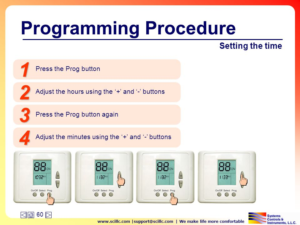 www.scillc.com |support@scillc.com | We make life more comfortable 60 Setting the time Press the Prog button 1 Programming Procedure ON Adjust the hours using the '+' and '-' buttons 2 Press the Prog button again 3 Adjust the minutes using the '+' and '-' buttons 4 ON AM
