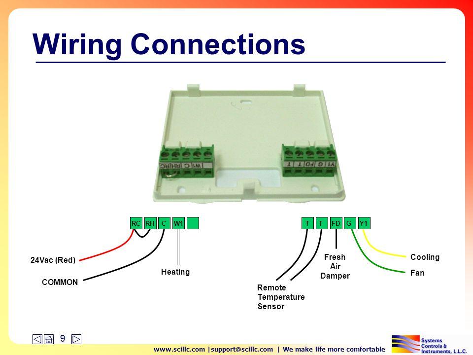 www.scillc.com |support@scillc.com | We make life more comfortable 10 Wiring Connections RCRH 24Vac (Red) TT Remote Temperature Sensor FD Fresh Air Damper The Rc/Rh terminals are bridged at the factory.