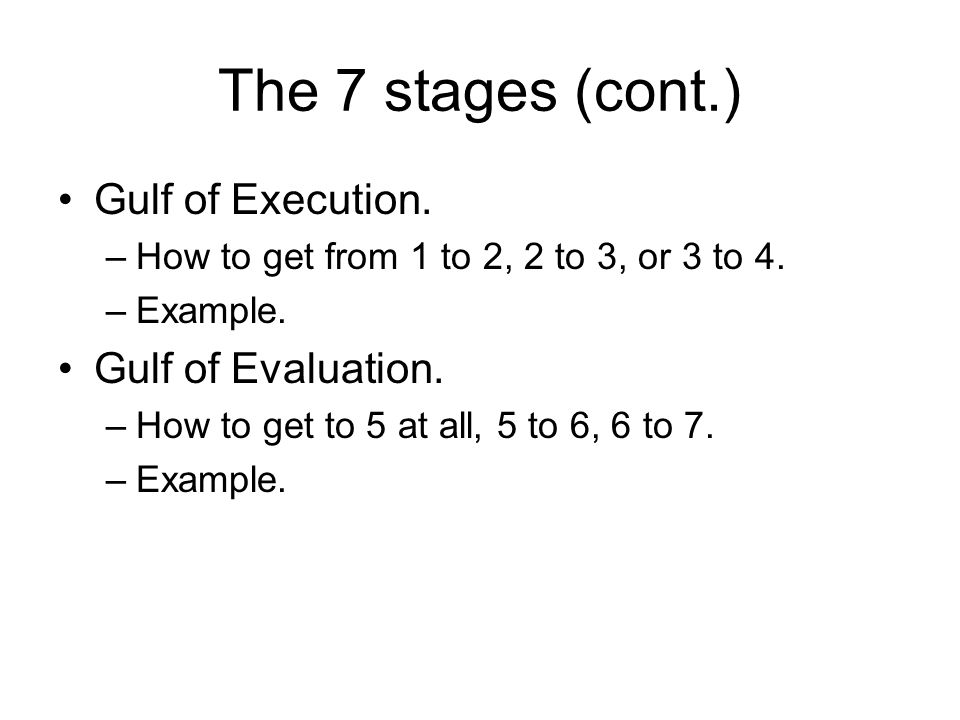 The 7 stages (cont.) Gulf of Execution.–How to get from 1 to 2, 2 to 3, or 3 to 4.