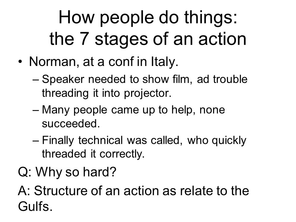 How people do things: the 7 stages of an action Norman, at a conf in Italy.