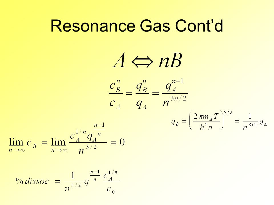 Resonance Gas Cont'd