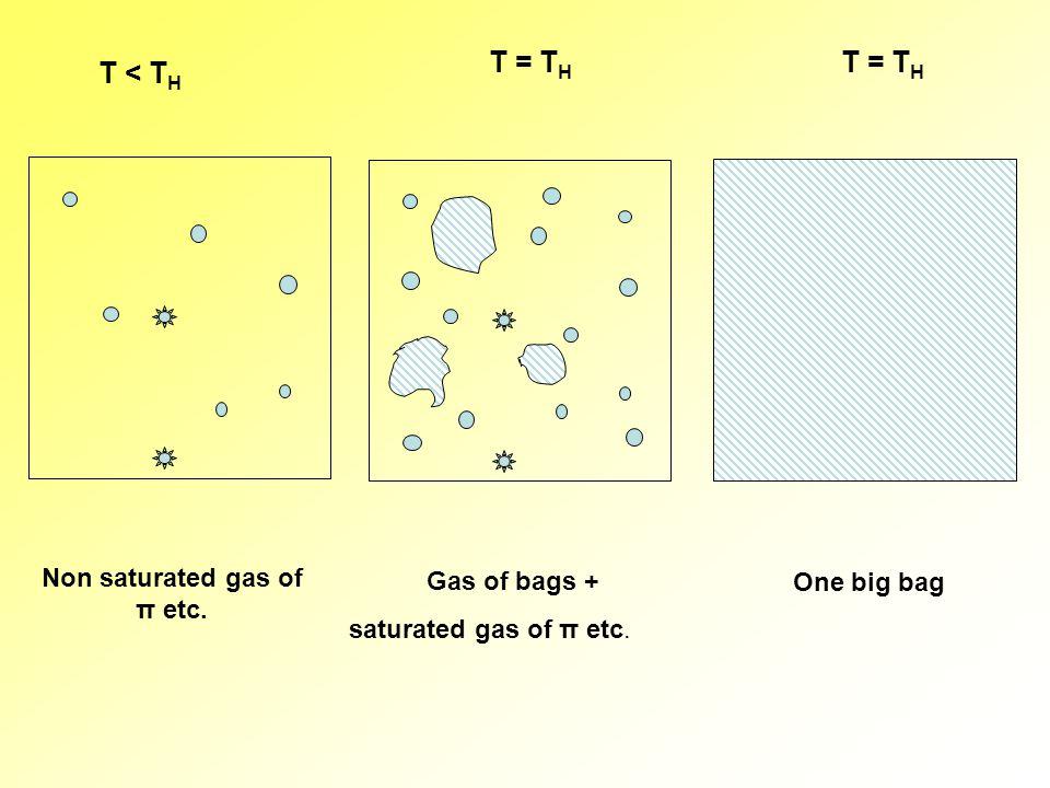 T < T H T = T H Non saturated gas of π etc. Gas of bags + saturated gas of π etc. One big bag