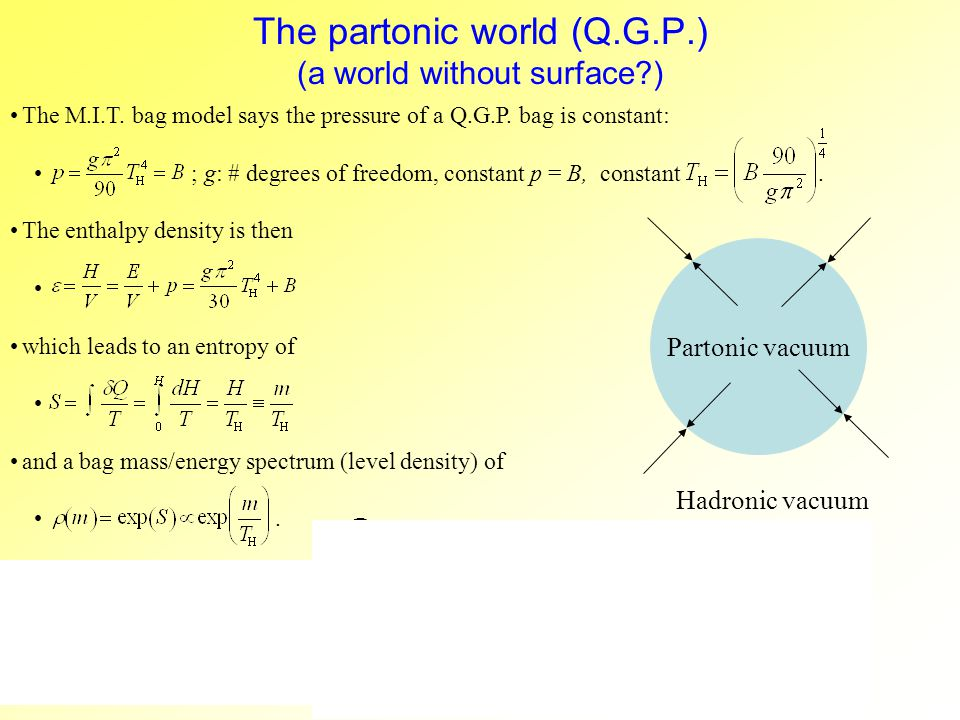 The partonic world (Q.G.P.) (a world without surface ) The M.I.T.