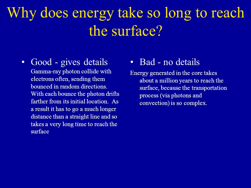 Why does energy take so long to reach the surface.