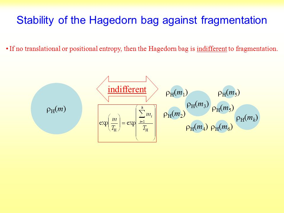 Stability of the Hagedorn bag against fragmentation If no translational or positional entropy, then the Hagedorn bag is indifferent to fragmentation.