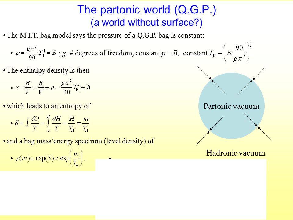 The partonic world (Q.G.P.) (a world without surface?) The M.I.T. bag model says the pressure of a Q.G.P. bag is constant: ; g: # degrees of freedom,