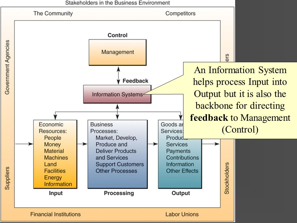 Business Systems An Information System helps process Input into Output but it is also the backbone for directing feedback to Management (Control)