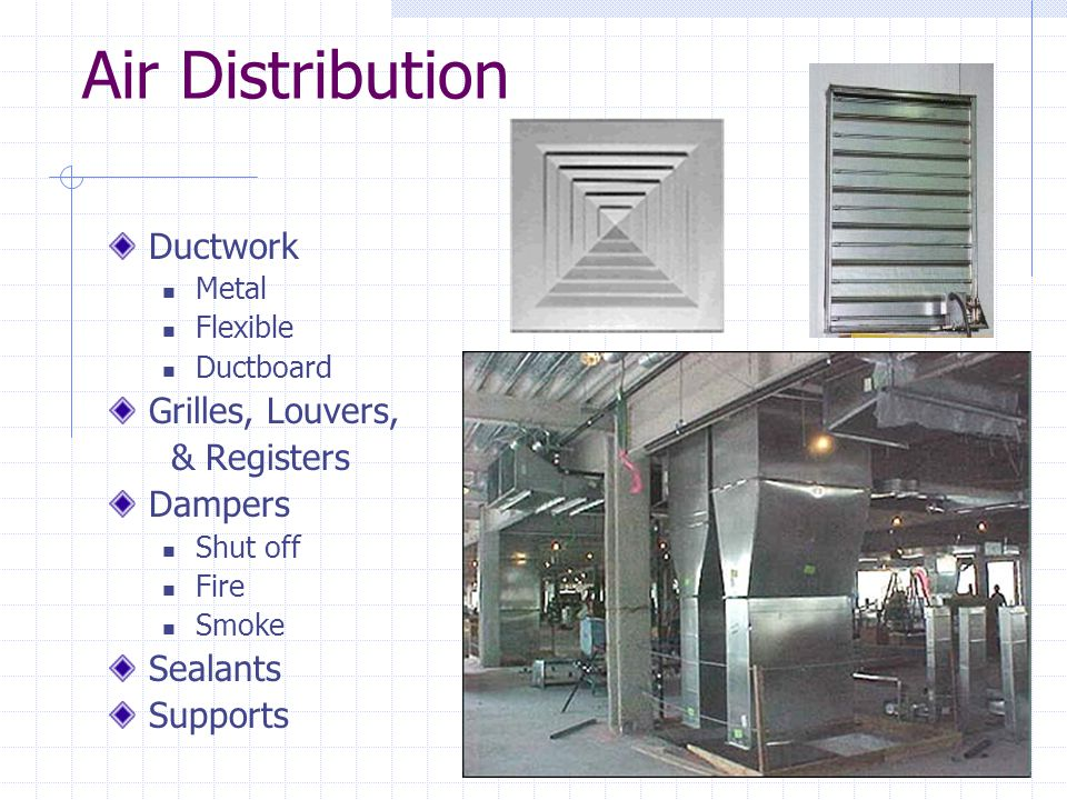 Air Distribution Ductwork Metal Flexible Ductboard Grilles, Louvers, & Registers Dampers Shut off Fire Smoke Sealants Supports