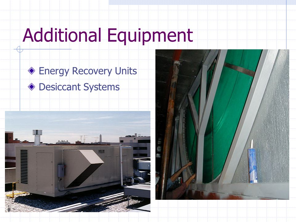 Additional Equipment Energy Recovery Units Desiccant Systems