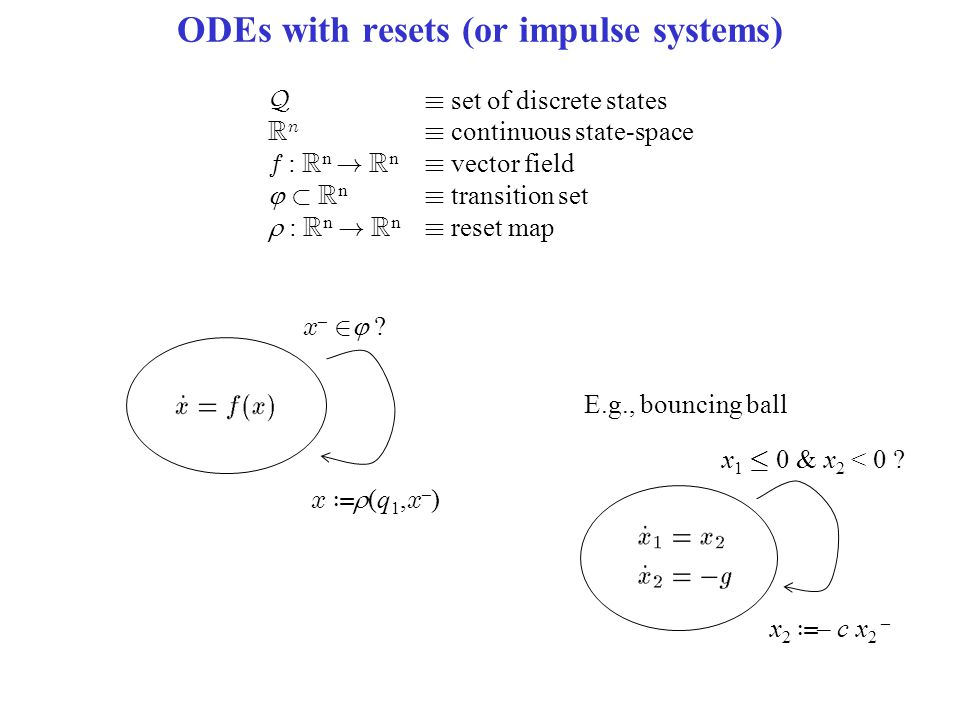 ODEs with resets (or impulse systems) Q´ set of discrete states R n ´ continuous state-space f : R n ! R n ´ vector field  ½ R n ´ transition set  :