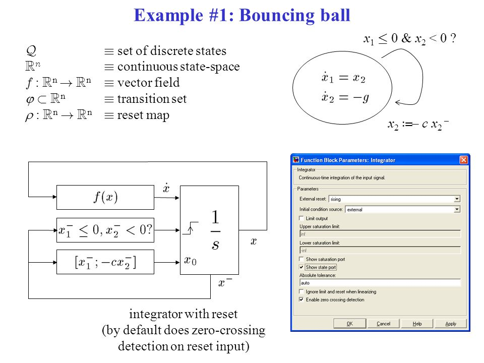 Example #1: Bouncing ball Q´ set of discrete states R n ´ continuous state-space f : R n .