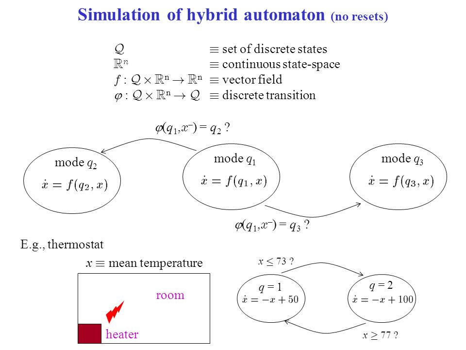 Simulation of hybrid automaton (no resets) Q´ set of discrete states R n ´ continuous state-space f : Q £ R n ! R n ´ vector field  : Q £ R n ! Q´ di