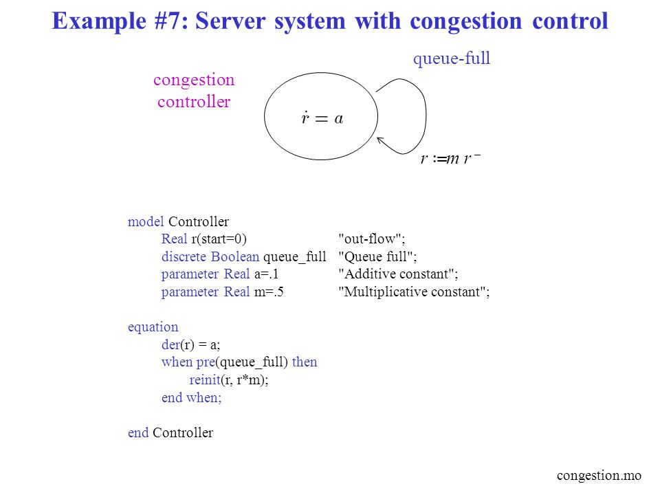 Example #7: Server system with congestion control r › m r – queue-full congestion controller model Controller Real r(start=0)